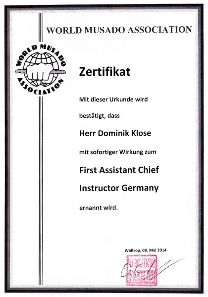 First Assistant Chief Instructor Germany